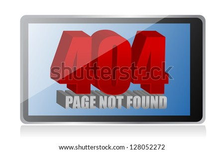 404 error on a tablet illustration design over a white background - stock photo