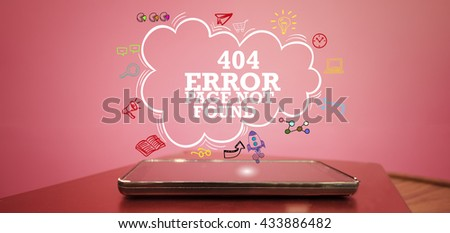 404 ERROR PAGE NOT FOUND  over a smartphone on pink background , business concept , business idea - stock photo