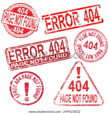 404 Error page not found stamps. Different shape rubber stamp illustrations  - stock photo
