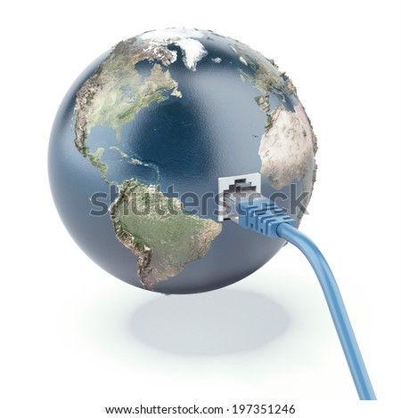 ethernet connected globe (Earth map provided by NASA) - stock photo