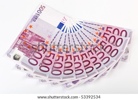 500 Euro bank notes fanned out on a white background - stock photo