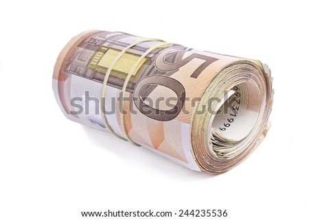 50 euro bank notes rolled and wrapped together.About 2500 worth. - stock photo