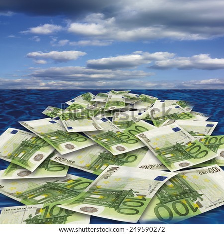 100 euro banknote floating on sea, close-up