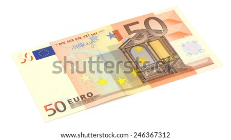 50 euro banknote  isolated on white - stock photo