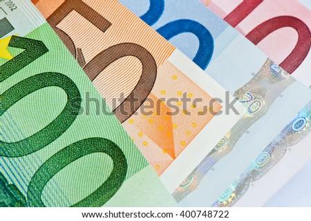100, 50, 20, 10 euro banknotes, close up - stock photo