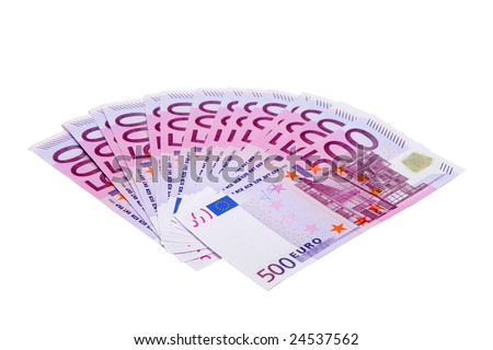 500 euro banknotes isolated on white