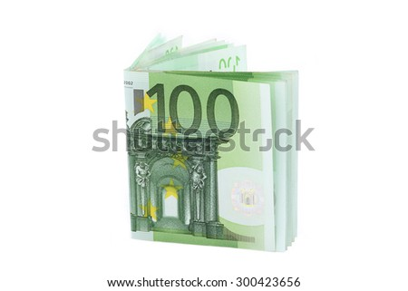 100 euro banknotes standing isolated on white - stock photo