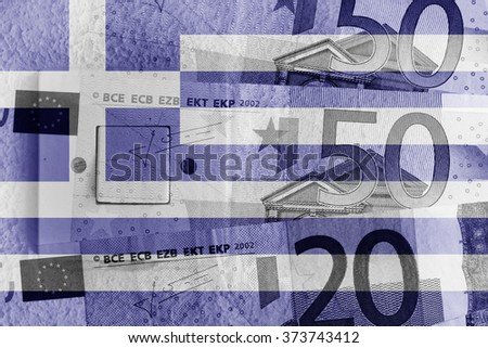 Euro banknotes, switch and Greek flag - stock photo