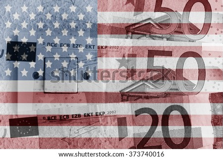 Euro banknotes, switch and USA flag - stock photo