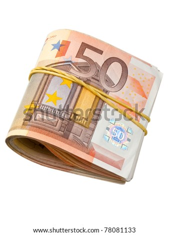 50-euro banknotes under rubber band - stock photo