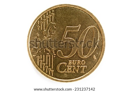 50 euro cent isolated on white. - stock photo
