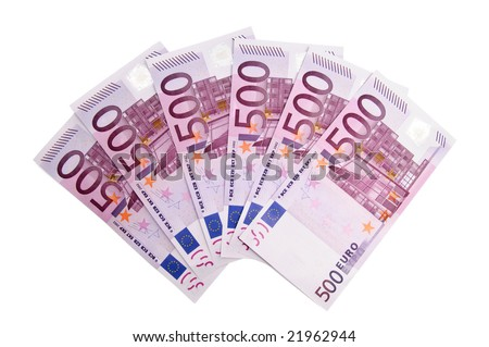 3000 Euro in five hundred banknotes