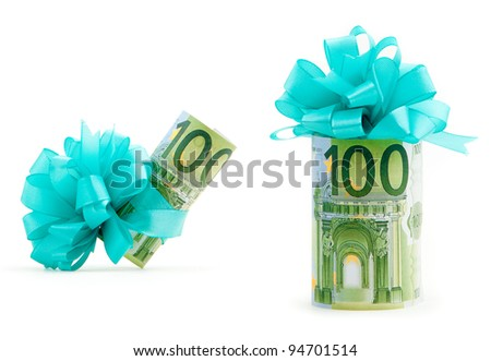 100 euro money gift . Euro money banknote isolated on white - stock photo