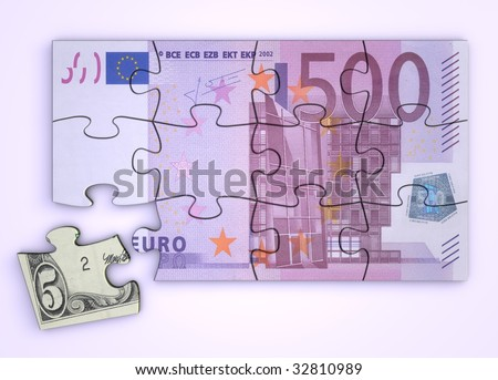 500 Euro note as a puzzle - one piece separately - extra dollar piece - stock photo