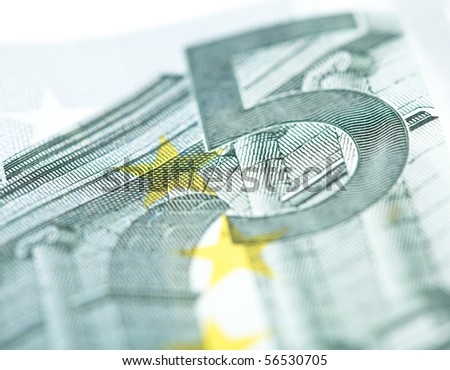 5 euro note closeup - stock photo
