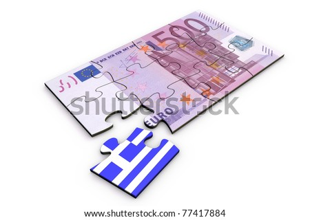 500 Euro note from top as a puzzle - one piece seperately - extra piece with Greece / greek flag on it - stock photo