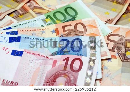 10, 20, 50, 100 euro notes - stock photo