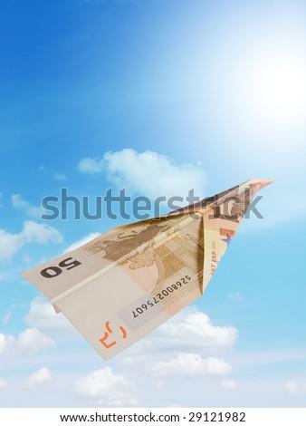 euro plane and blue sky - stock photo