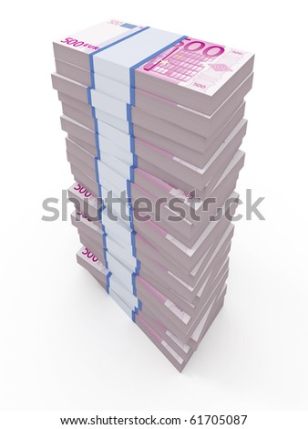 500 euro stacks isolated on white - stock photo