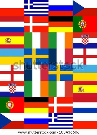 16 Europe National flag Pattern background - stock photo