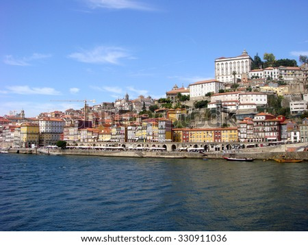 Europe,  Portugal. Porto city, and river Doro.
