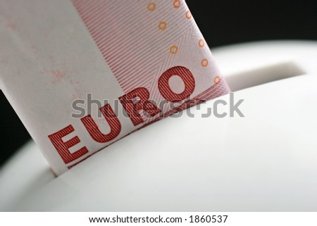 10 euros in money bank - stock photo