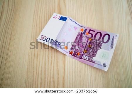 500 euros on the table - stock photo