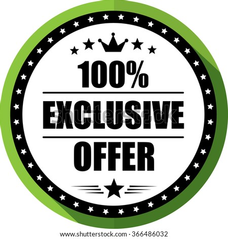 100% Exclusive offer green, Button, label and sign.