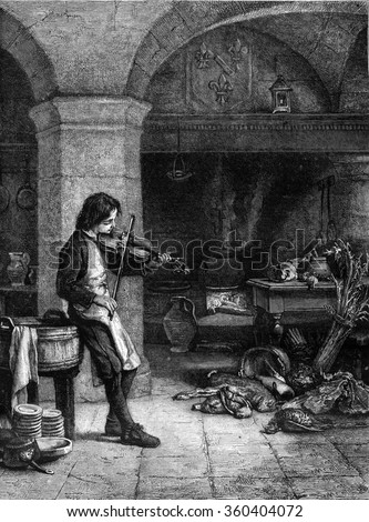 1869 Exhibition of Painting, Lully, or galopin kitchen boy of Miss, vintage engraved illustration. Magasin Pittoresque 1869.