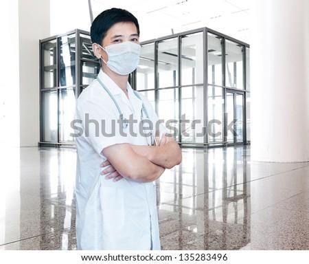 expertise handsome senior doctor hospital portrait  [Photo Illustration] - stock photo
