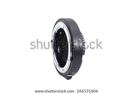 2 Extension tube combined for macro photography on white background - stock photo