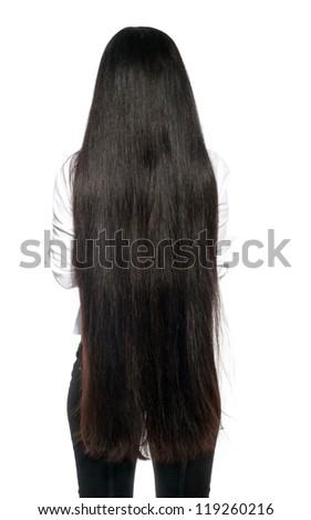 Extra long healthy dark Hair. - stock photo