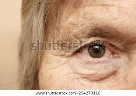 Eye close up, Close-up of old woman's eye - stock photo