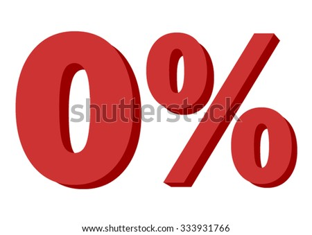 0 % , Fabric number isolated on white background, indicating zero percent interest or other financial percentages - stock photo