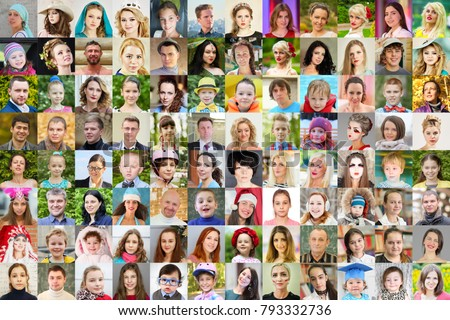 96 faces - children, adults, teens, seniors, collage with 62 models