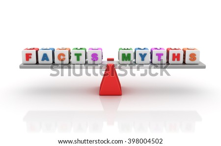 Facts Mytns Words Balancing on a Seesaw - Balance Concept - High Quality 3D Render   - stock photo
