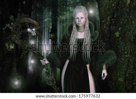 'Fae Summoner', digital fantasy illustration of blonde lady with a gnarled staff in a magical forest, surrounded by fairies in lanterns. - stock photo