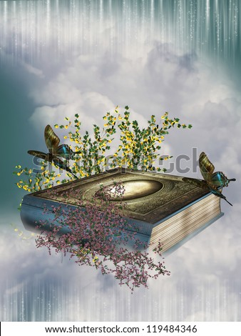fairytale book the sky with butterflies and flowers - stock photo