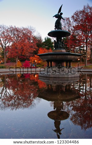 Fall colors at Bethesda Fountain in Central Park. New York City - stock photo