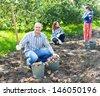 family harvesting potatoes in vegetable garden - stock photo