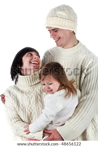 family in winter clothe