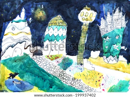 """""""Fantastic city"""". Artwork by a seven years old child. Painted in water-colors and marker pen   - stock photo"""