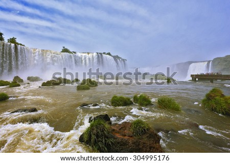 Fantastically spectacular boiling and thundering waterfalls of Iguazu. Waterfalls in Brazil - stock photo