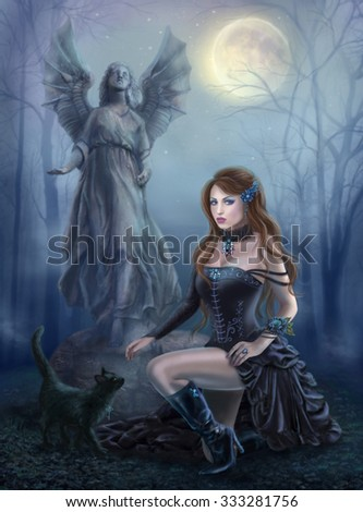 Fantasy beautiful woman  with  black cat about a statue. wood at night. gothic style - stock photo