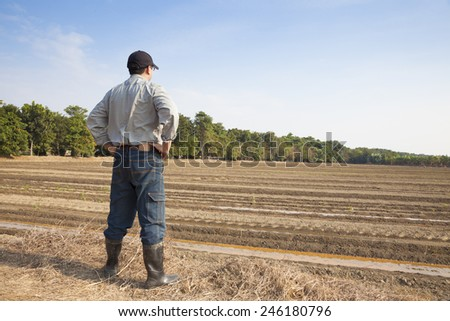 Farmer  standing on farming land - stock photo