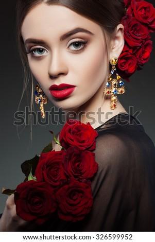 Fashion girl portrait.Accessorys. - stock photo