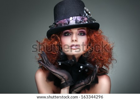 Fashion girl portrait.Accessorys.On grey  background. Red hair. - stock photo