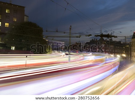 Fast trains with motion blur - stock photo