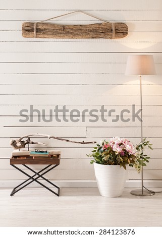 feature wall study nook in contemporary living room - stock photo