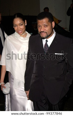 21FEB2000: Actor LAURENCE FISHBURNE & wife at the MusiCares Gala, in Los Angeles, honoring Sir Elton John as the MusiCares Person of the Year.  Paul Smith / Featureflash
